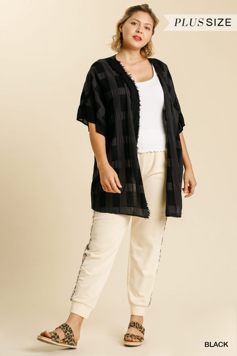 Textured Ruffle Half Sleeve Open Front Kimono with Frayed Edged Details black plus full