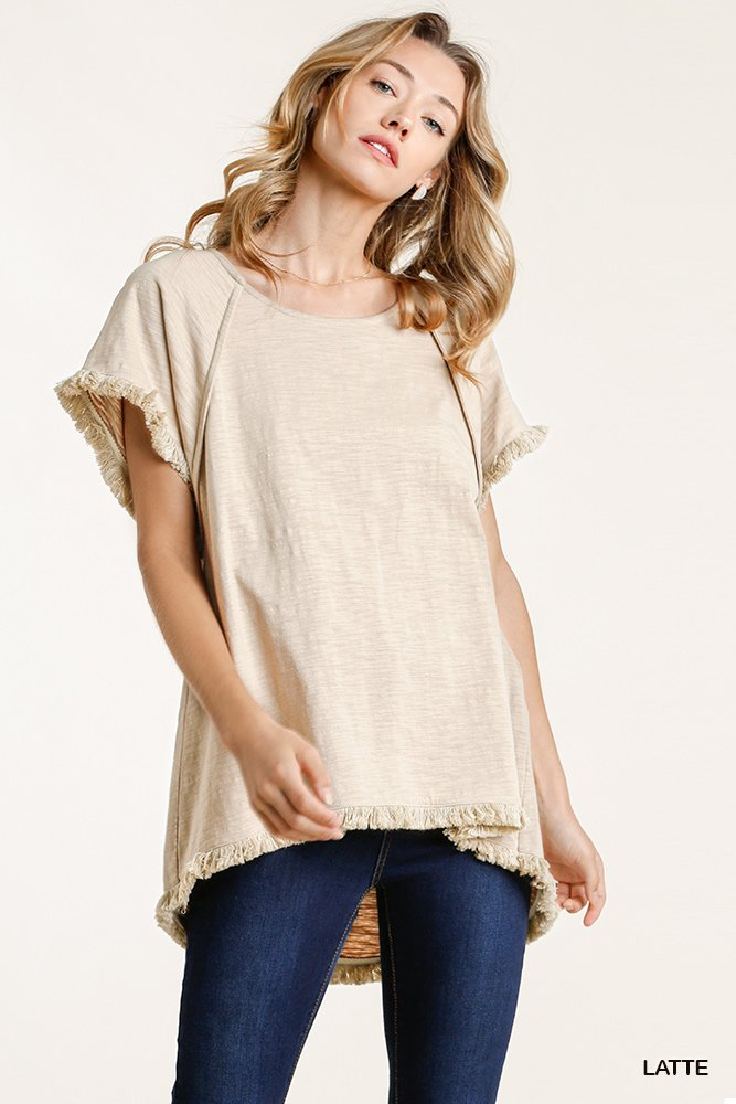 Short Sleeve Round Neck Top with High Low Scoop Frayed Ruffle Hem Latte