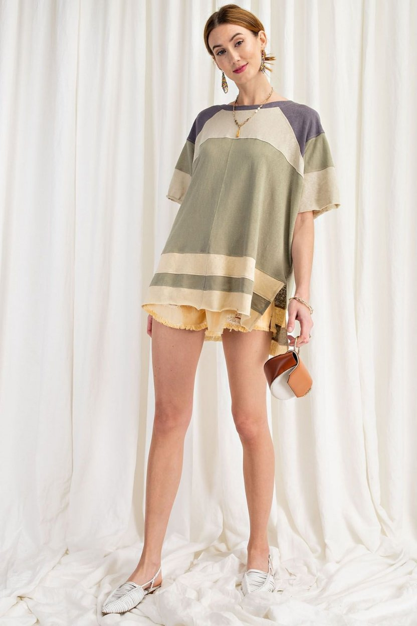 Keep it Real Color Blocked Top - Short Sleeve Cotton Jersey Loose Fit Top