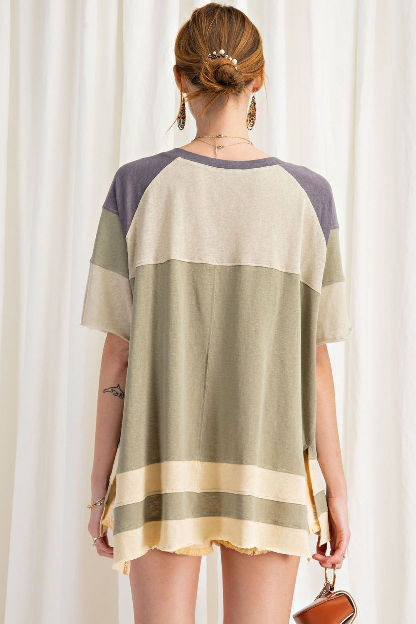 Keep it Real Color Blocked Top - Short Sleeve Cotton Jersey Loose Fit Top back