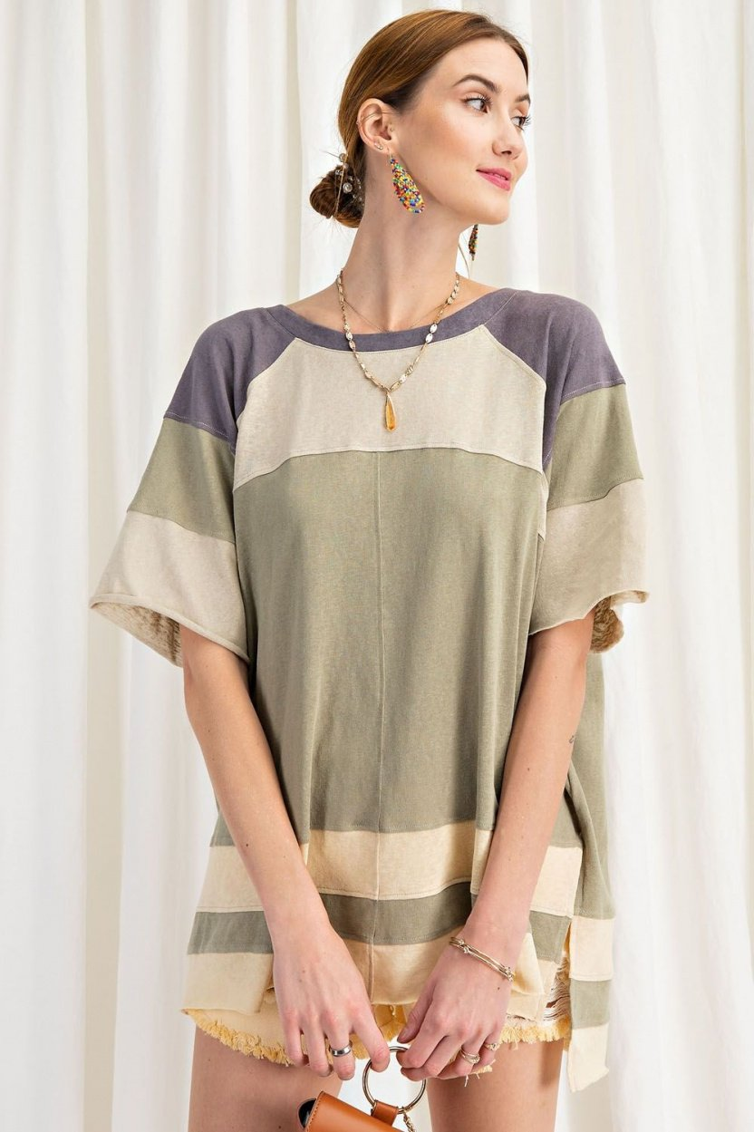 Keep it Real Color Blocked Top - Short Sleeve Cotton Jersey Loose Fit Top front close 2