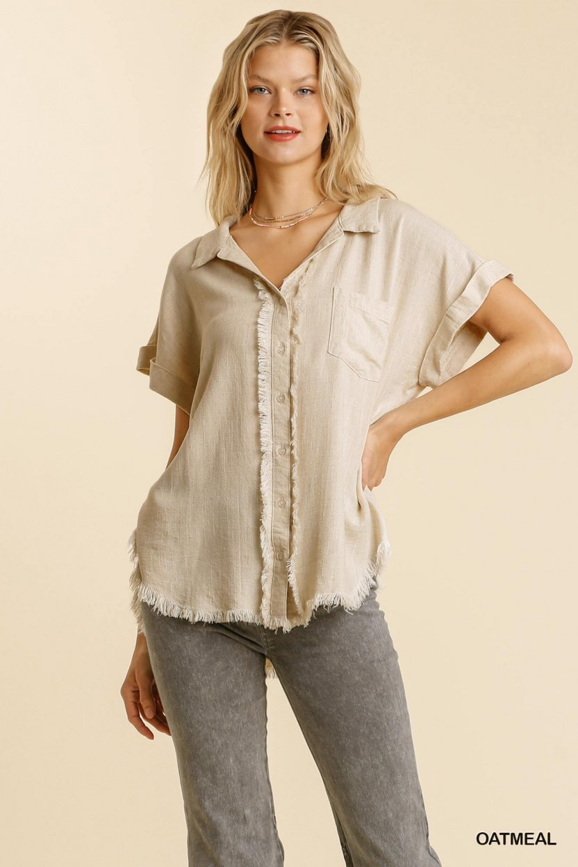Linen blend button down collar folded sleeve top with chest pocket