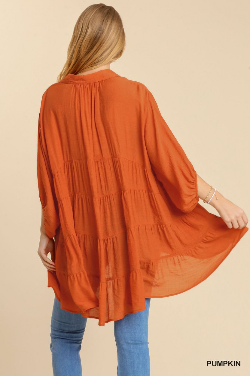 Sheer 3/4 Sleeve Collar Button Down Back Tiered Tunic Dress with High Low Hem back
