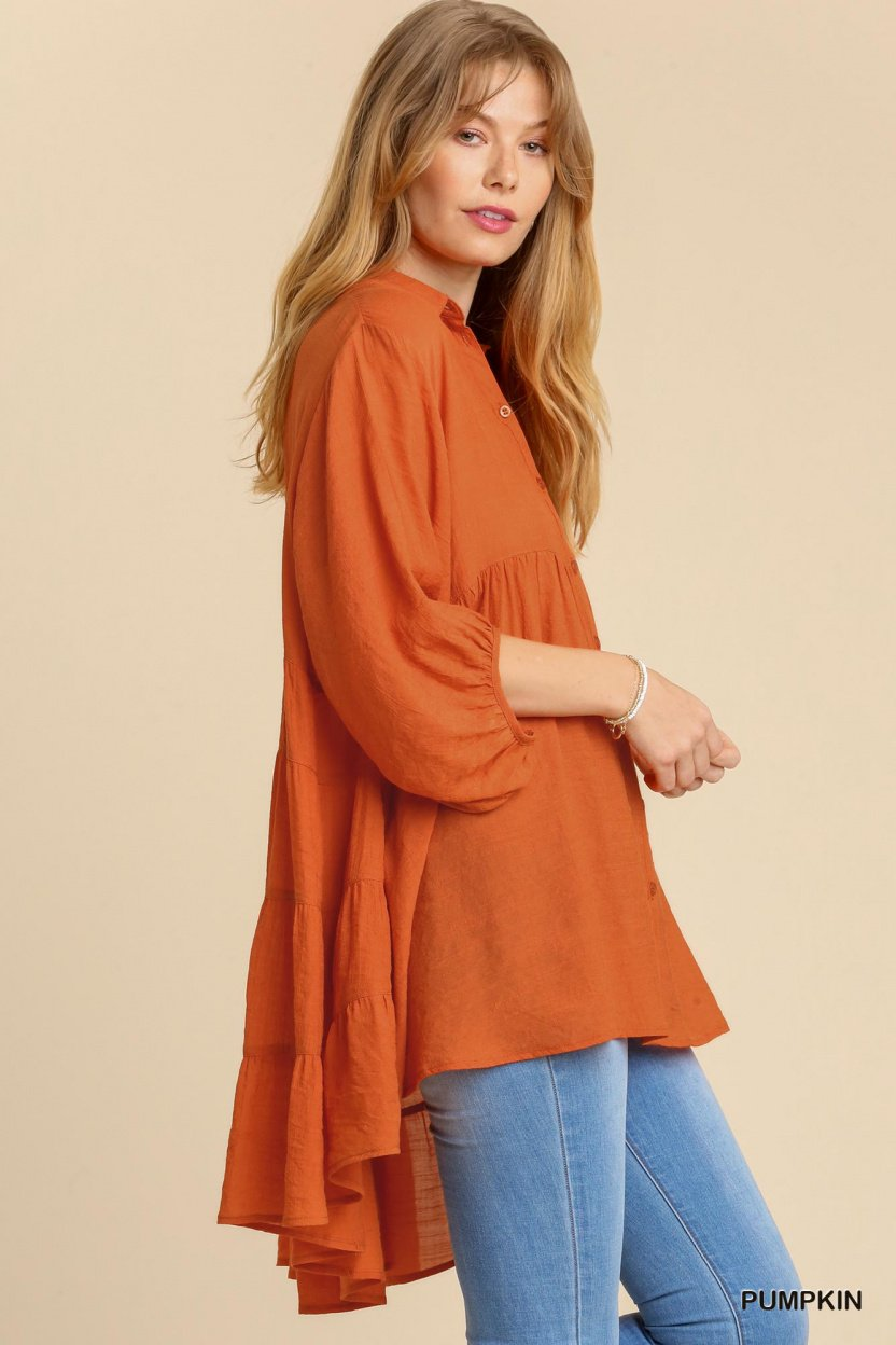 Sheer 3/4 Sleeve Collar Button Down Back Tiered Tunic Dress with High Low Hem pumpkin side