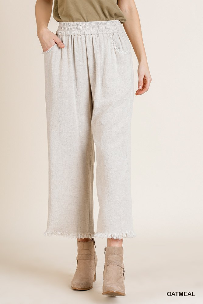 Wide Leg Pant with Elastic Waist, Pockets, and Frayed Hem oatmeal front close