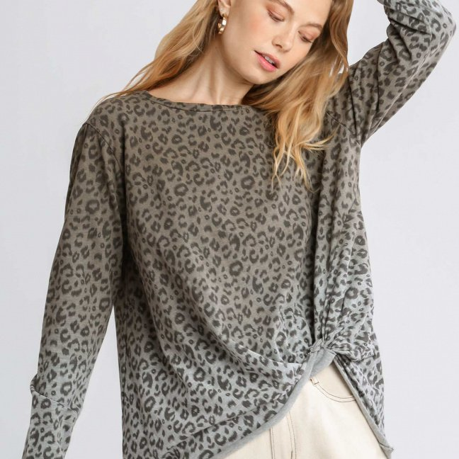 Animal Print Ombre Long Sleeve Top with Side Knot Detail and Raw Hem