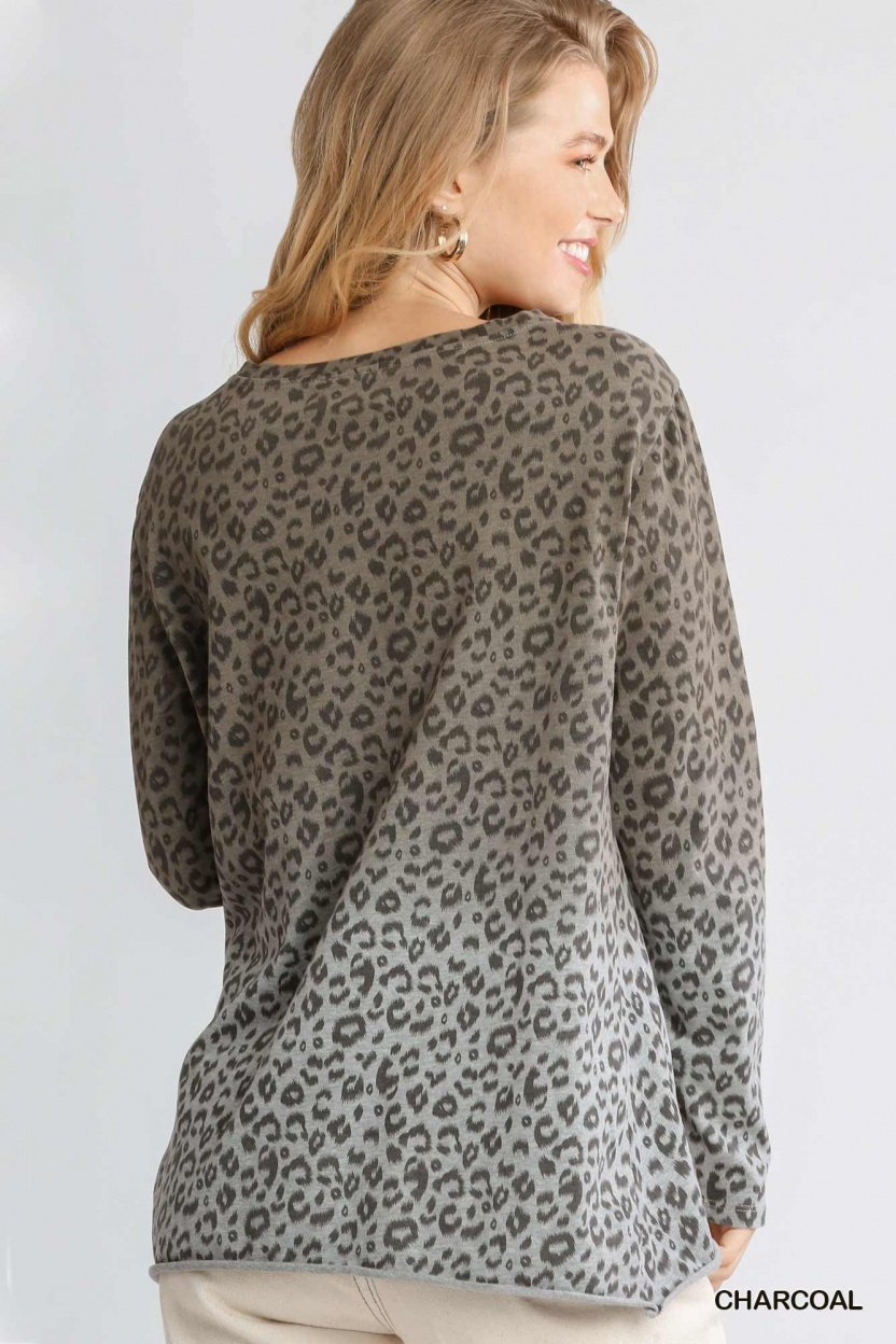 Animal Print Ombre Long Sleeve Top with Side Knot Detail and Raw Hem back