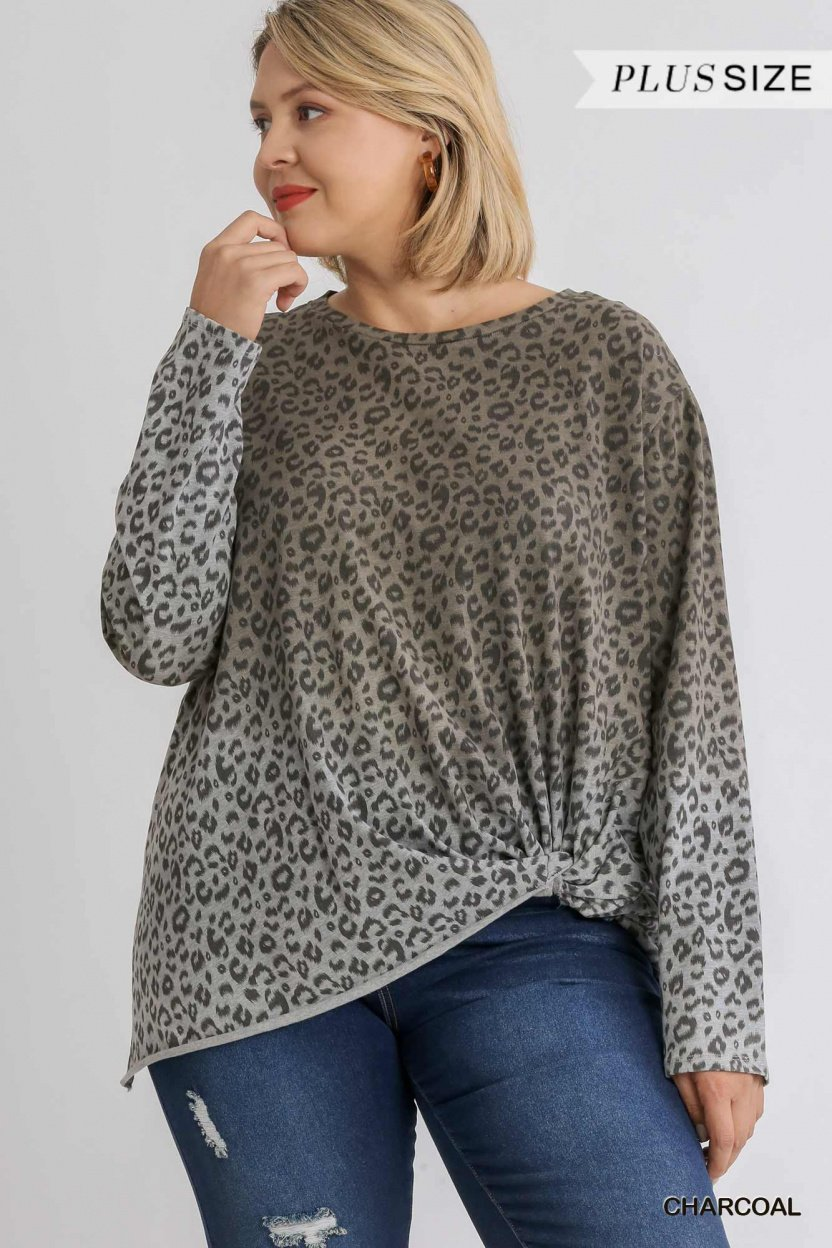 Animal Print Ombre Long Sleeve Top with Side Knot Detail and Raw Hem charcoal plus size front