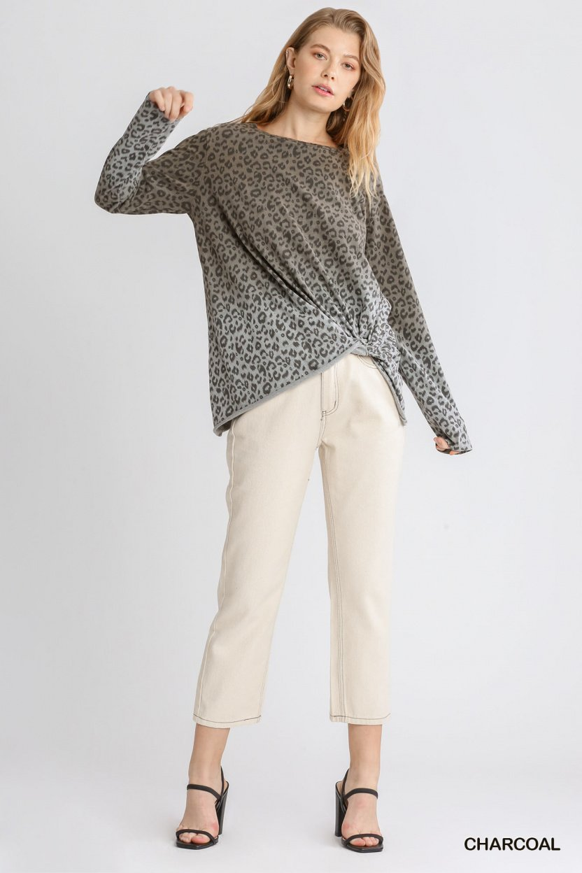 Animal Print Ombre Long Sleeve Top with Side Knot Detail and Raw Hem full