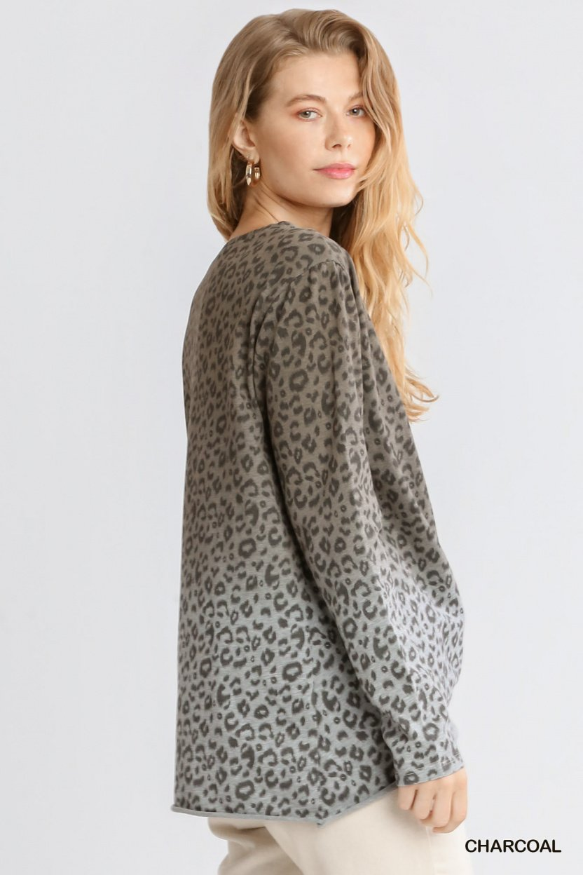 Animal Print Ombre Long Sleeve Top with Side Knot Detail and Raw Hem side