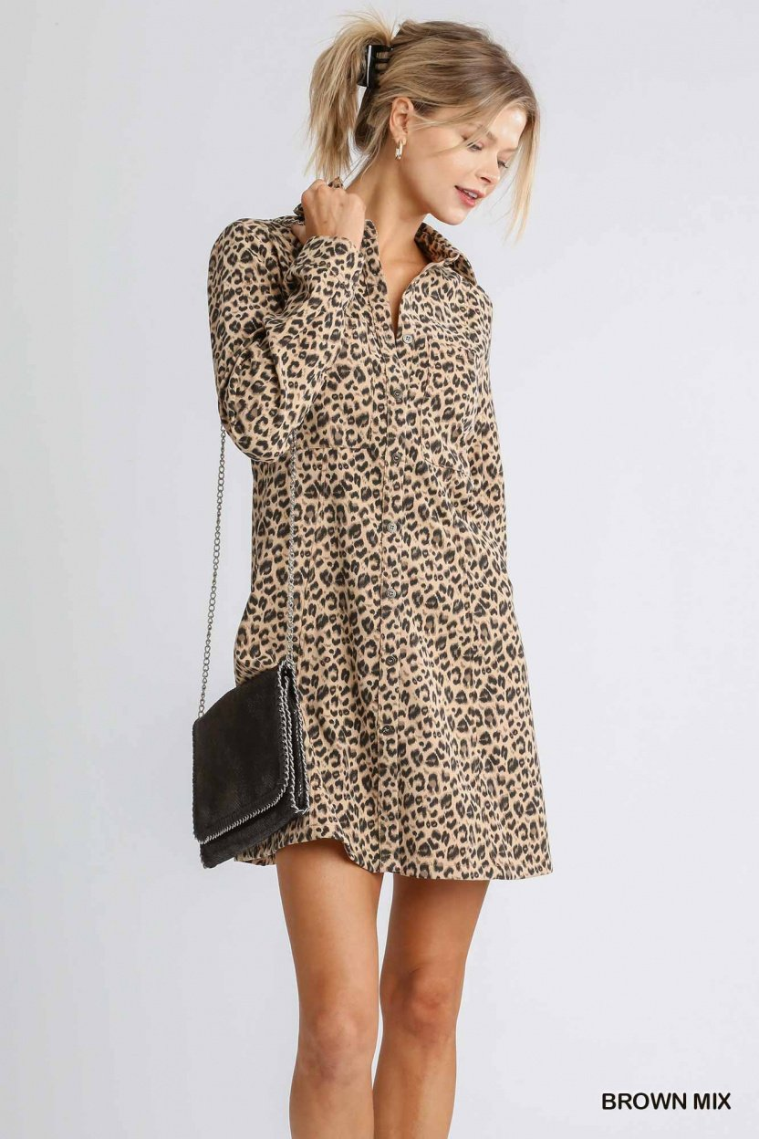 Corduroy Animal Print Collar Button Down Shirt Dress with Chest Pockets brown mix