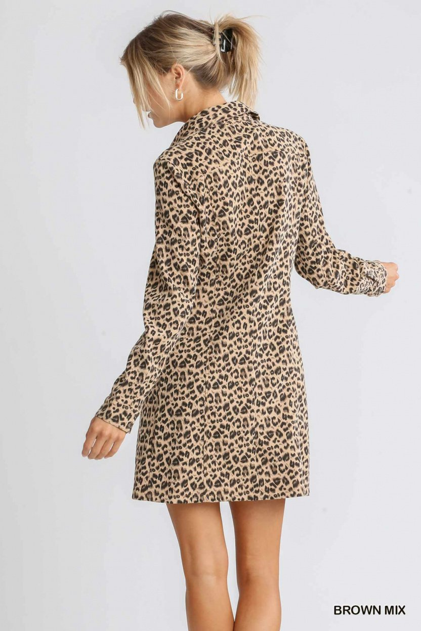 Corduroy Animal Print Collar Button Down Shirt Dress with Chest Pockets brown mix back