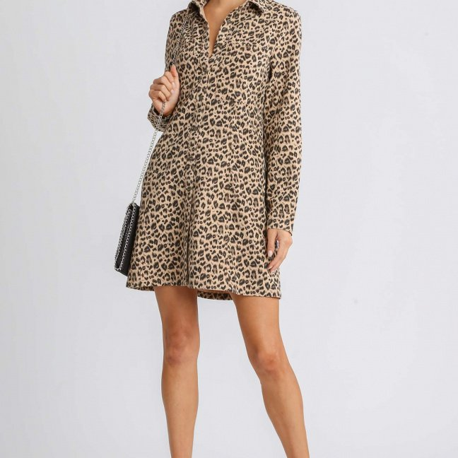 Corduroy Animal Print Collar Button Down Shirt Dress with Chest Pockets brown mix full