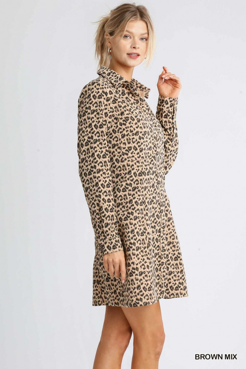 Corduroy Animal Print Collar Button Down Shirt Dress with Chest Pockets brown mix side