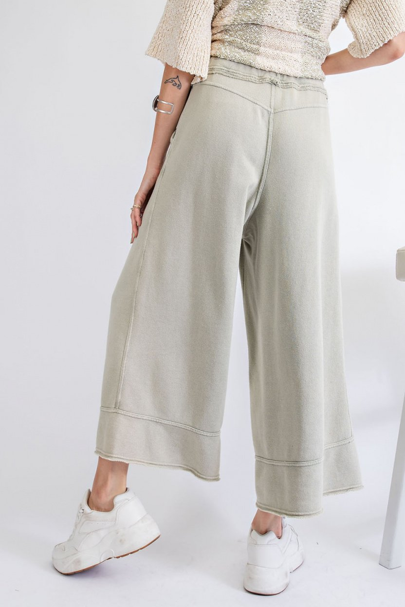 Garment Dye Terry Knit Bottom with Frayed Hems back earth sage