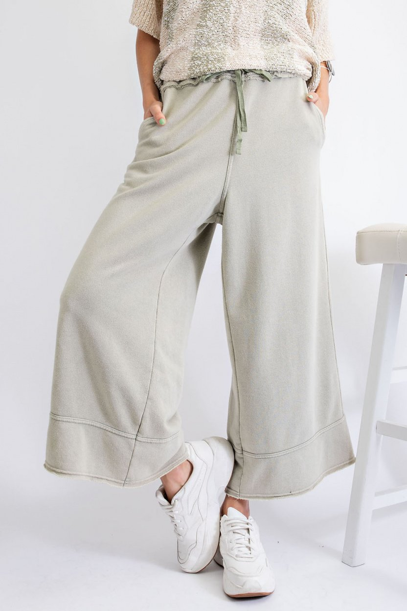 Garment Dye Terry Knit Bottom with Frayed Hems earth sage front