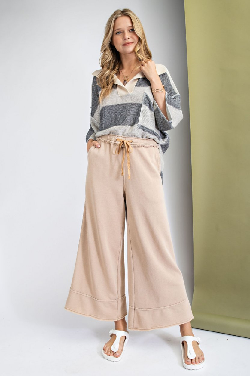 Garment Dye Terry Knit Bottom with Frayed Hems Latte front