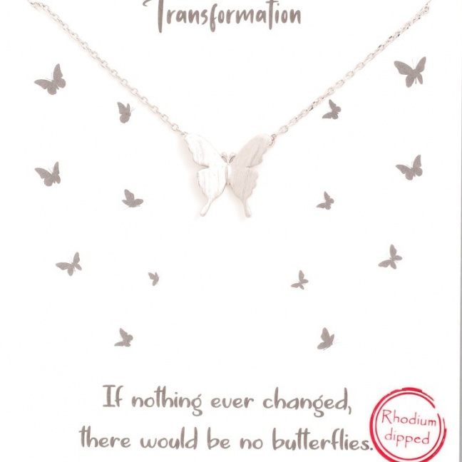 Gold dipped butterfly pendant necklace silver