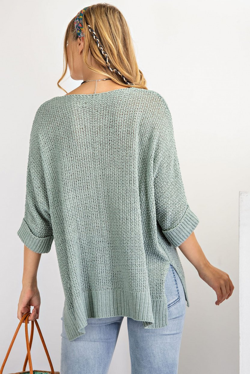 It's a Breeze Sweater Knit Top - Lightweight Sweater Knit Loose Fit Top sage blue back