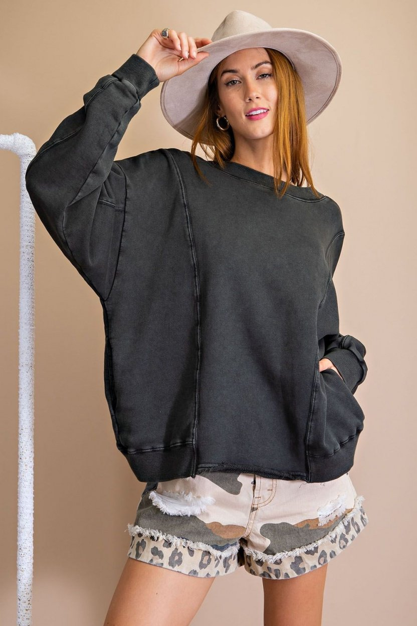 Mineral washed terry knit top black front