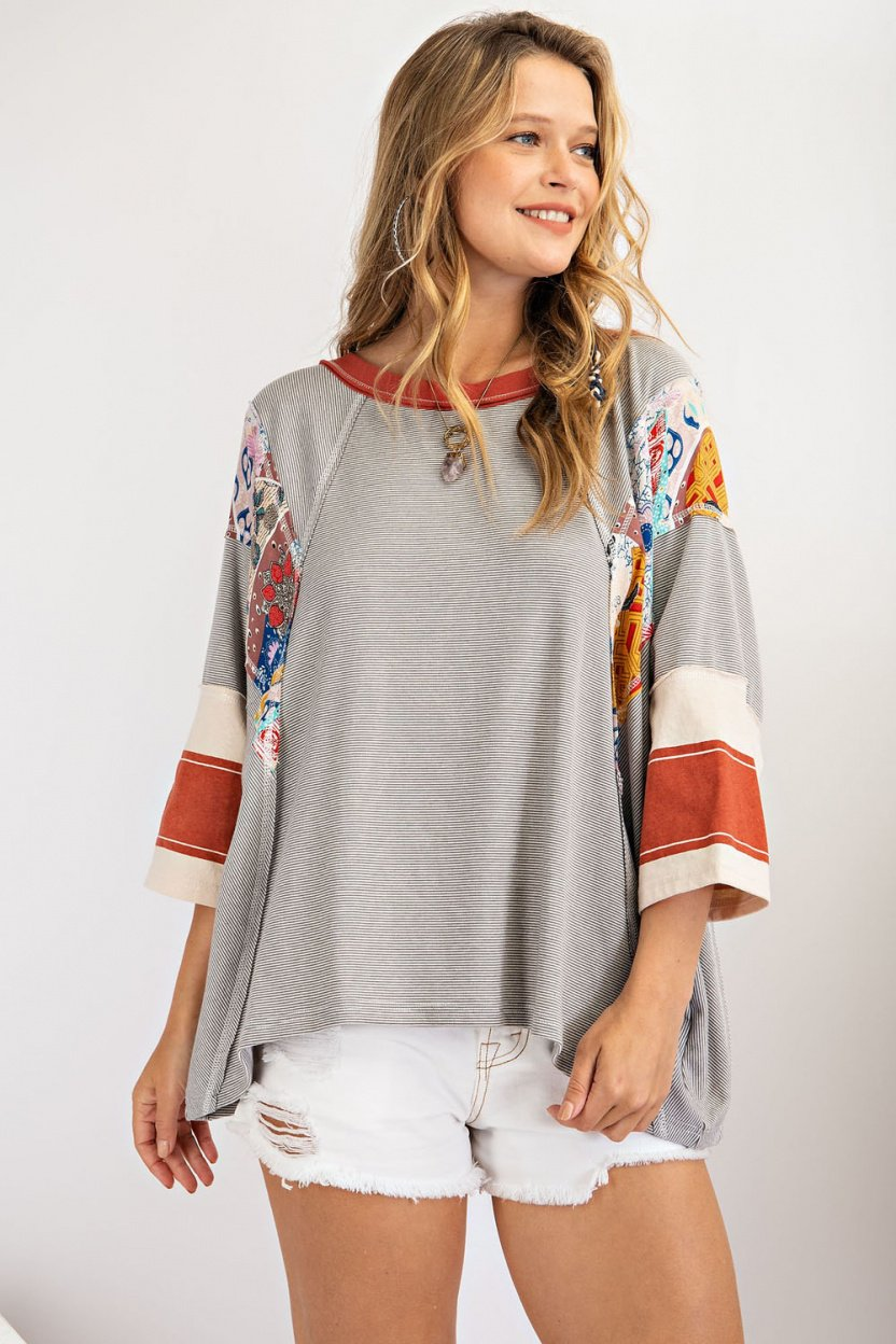 Mix and Match Stripe Tee - Pin stripe mix-print loose fit knit top front