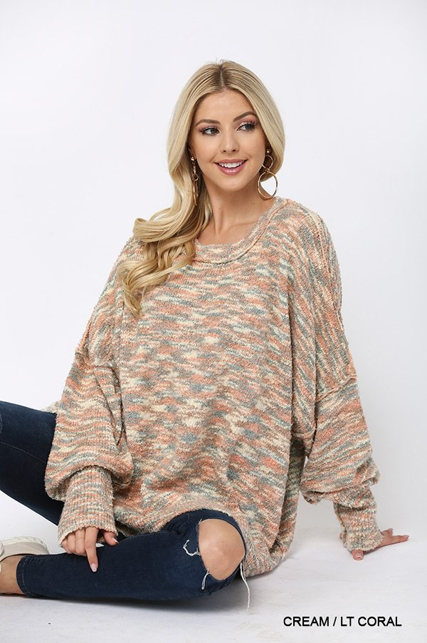 Multi Color and Loose Fit Round Neck Sweater cream coral sitting