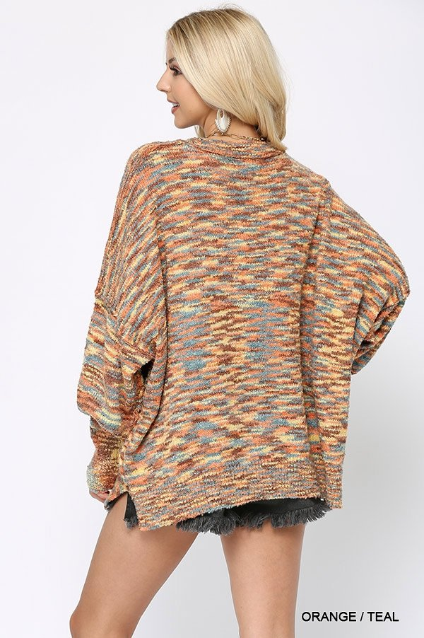Multi Color and Loose Fit Round Neck Sweater orange teal back