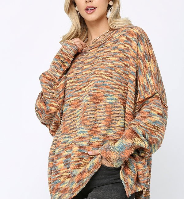 Multi Color and Loose Fit Round Neck Sweater orange teal front