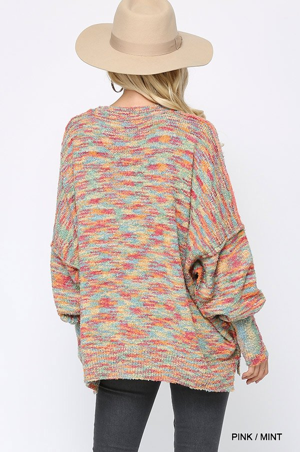 Multi Color and Loose Fit Round Neck Sweater pink mint back
