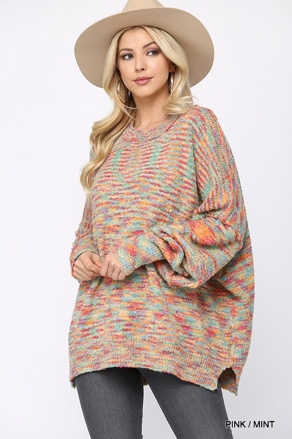 Multi Color and Loose Fit Round Neck Sweater pink mint front