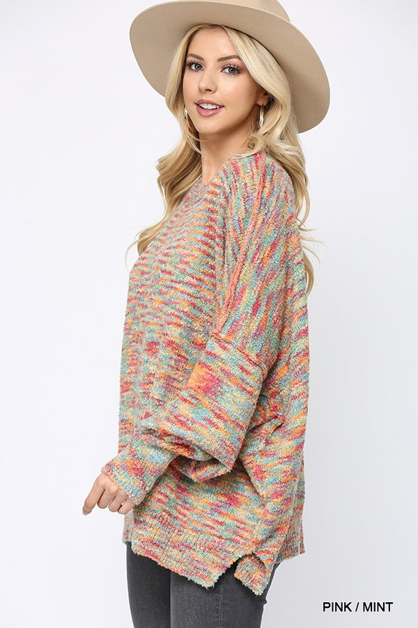 Multi Color and Loose Fit Round Neck Sweater pink mint side