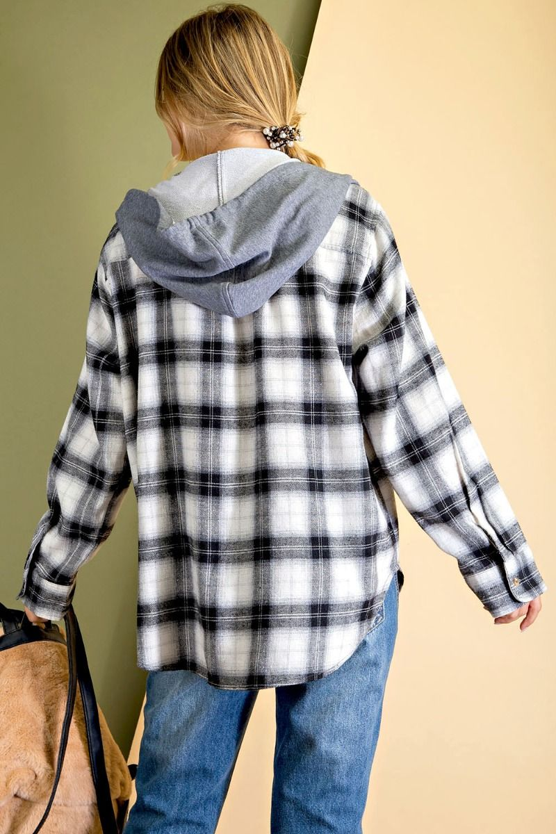 Plaid Woven Button-down plaid print hoodie with rounded bottom hem - black back