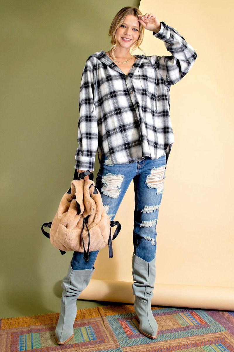 Plaid Woven Button-down plaid print hoodie with rounded bottom hem - black full