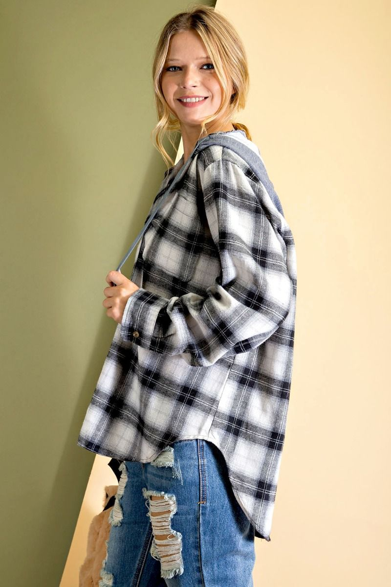 Plaid Woven Button-down plaid print hoodie with rounded bottom hem - black side