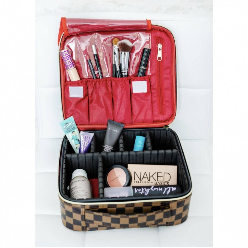 Professional cosmetic case with dividers brown