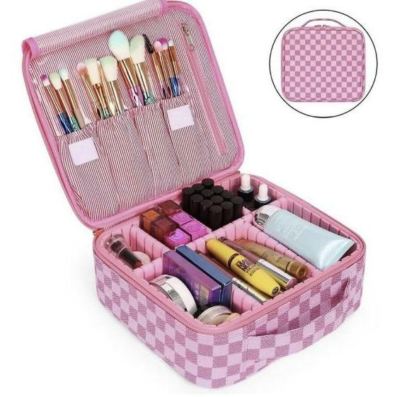 Professional cosmetic case with dividers pink