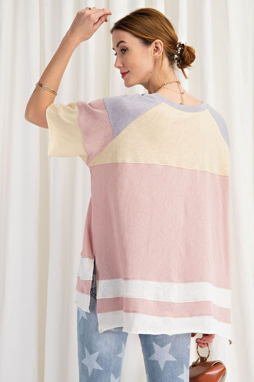 short sleeve cotton jersey loose fit top back