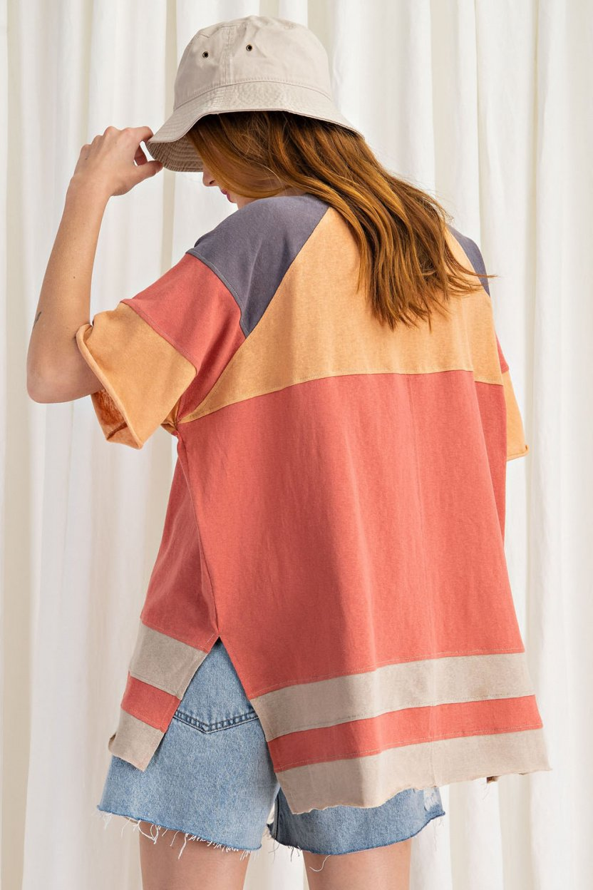 short sleeve cotton jersey loose fit top coral back