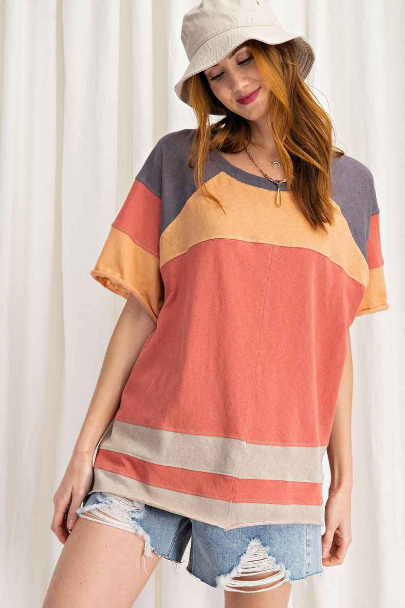 short sleeve cotton jersey loose fit top coral front