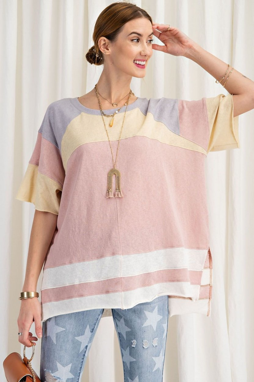 short sleeve cotton jersey loose fit top front posed