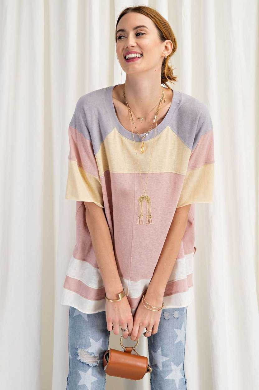 short sleeve cotton jersey loose fit top front with purse