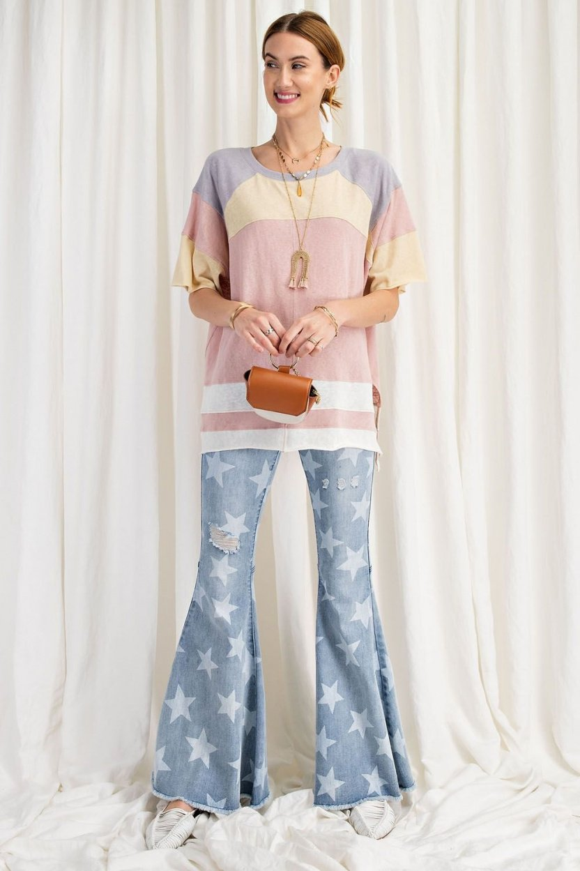 short sleeve cotton jersey loose fit top full