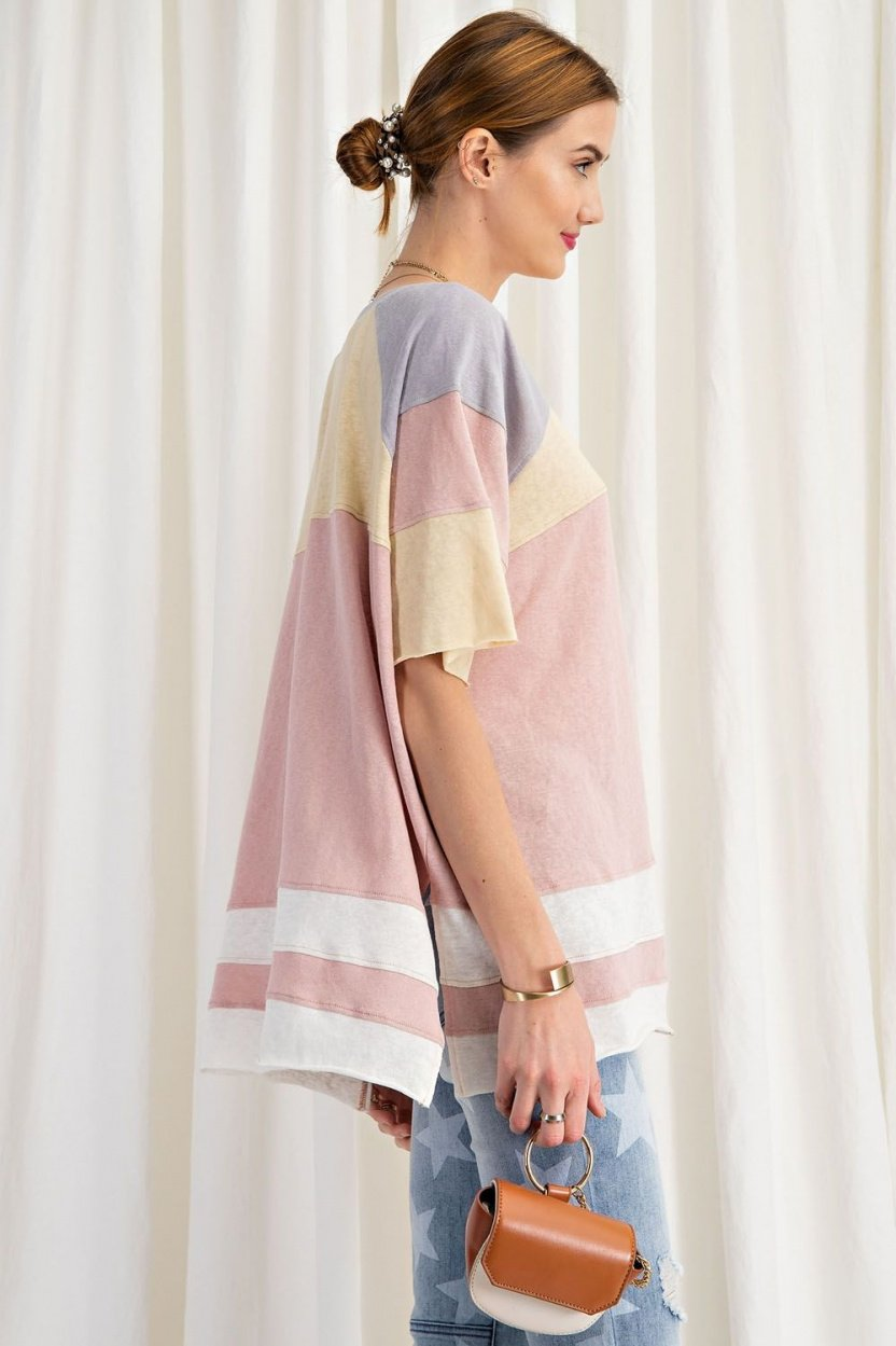 short sleeve cotton jersey loose fit top side