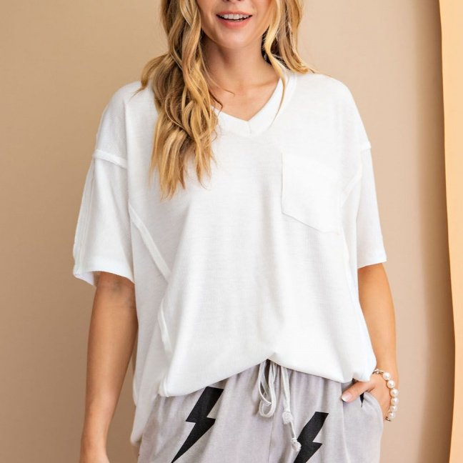 Short sleeve ribbed loose fit knit top front 2