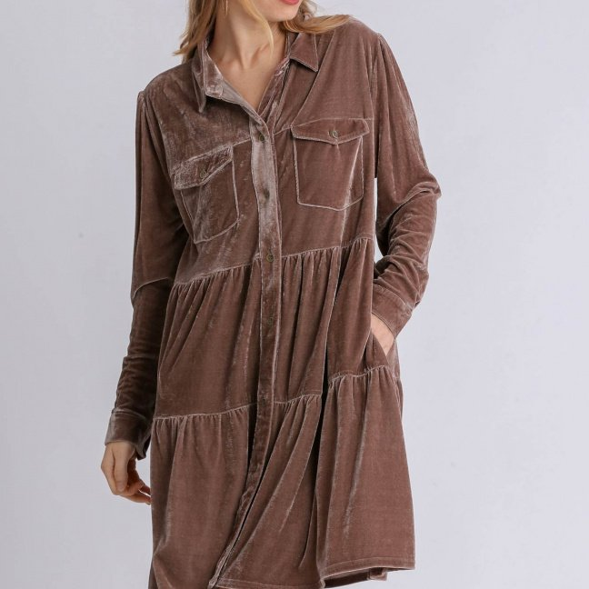 Velvet Long Sleeve Collar Button Down Tiered Dress with Pockets Almond