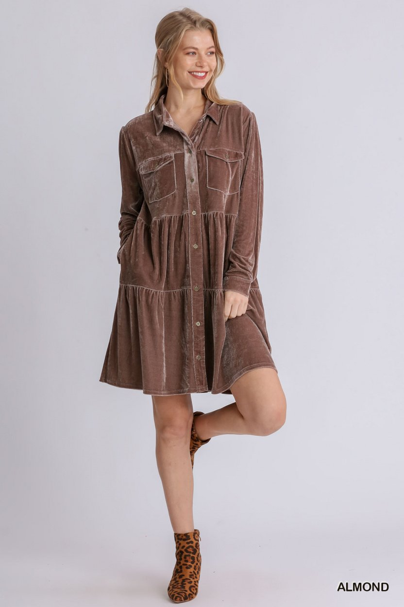 Velvet Long Sleeve Collar Button Down Tiered Dress with Pockets Almond full