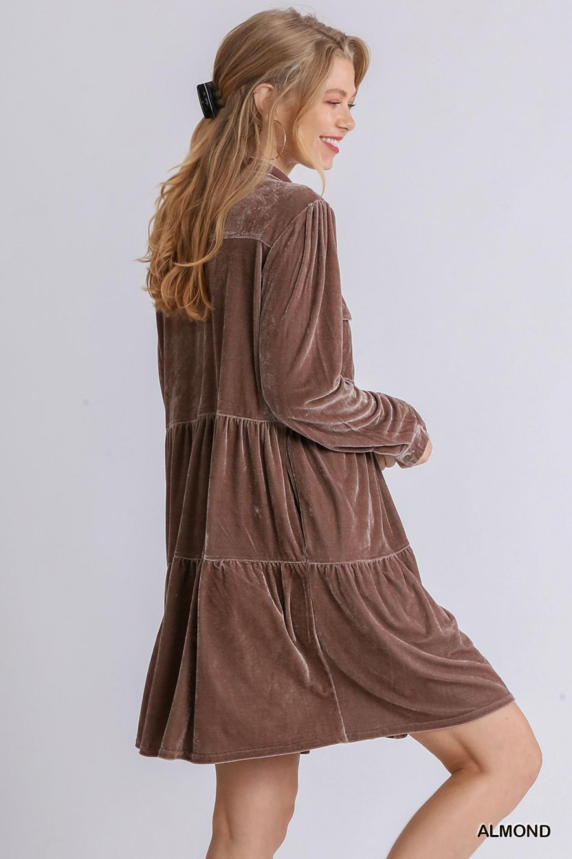 Velvet Long Sleeve Collar Button Down Tiered Dress with Pockets Almond side