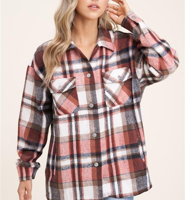 Collared snap button double-chest pocket plaid overshirt jacket front hand up