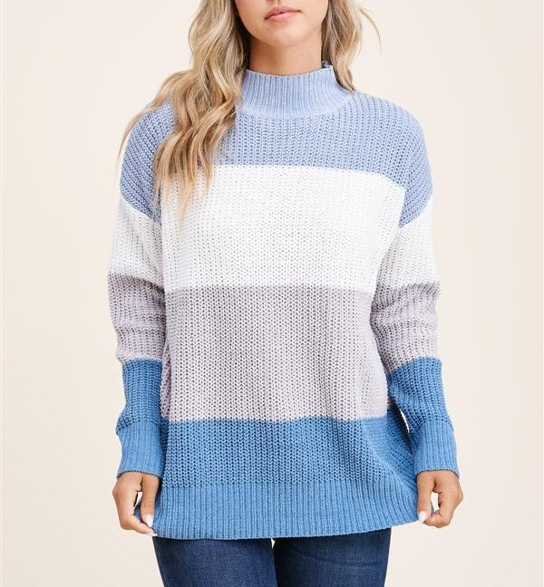 Mock neck long sleeve color block pullover sweater blue gray front 3