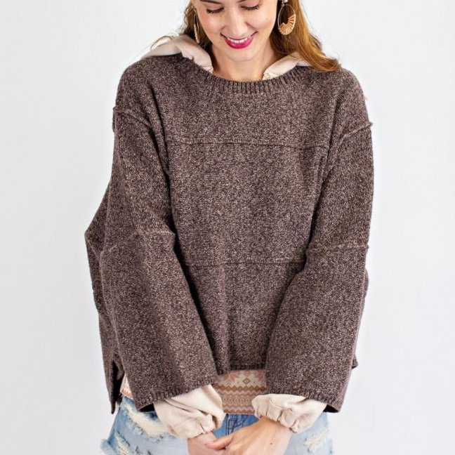 Oversized wide sleeve sweater with rounded neckline coffee front 2